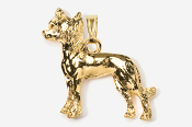 #P880G - Chinese Crested 24K Gold Plated Pendant