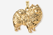 #P883G - Keeshond 24K Gold Plated Pendant