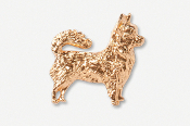 #860AG - Long Hair Chihuahua 24K Gold Plated Pin