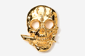 #802G - Skull with Shark 24K Gold Plated Pin