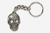 #K803 - Lucky #3 Skull Antiqued Pewter Keychain