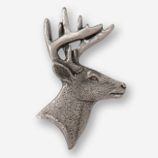 #D40010 - Whitetail Buck Head (right) Pewter Drawer Pull