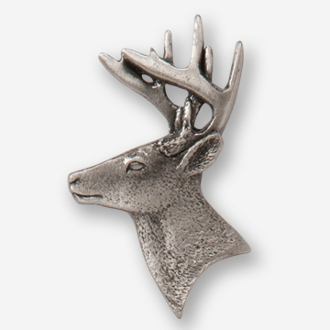 #D40020 - Whitetail Buck Head (left) Pewter Drawer Pull