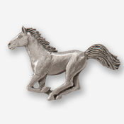 #D44320 - Galloping Horse (left) Pewter Drawer Pull