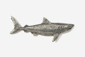 #250 - Great White Shark Antiqued Pewter Pin