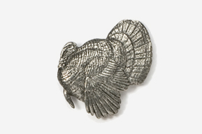 #326 - Left Facing Strutting Turkey Antiqued Pewter Pin