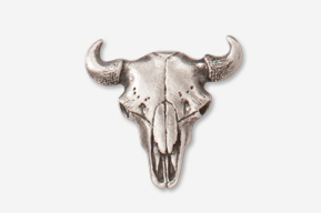 #407A - Buffalo Skull Antiqued Pewter Pin