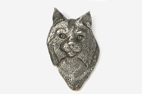 #427 - Bobcat Head Antiqued Pewter Pin