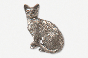 #439D - Sitting Shorthair Cat Antiqued Pewter Pin