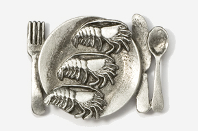 #680D - Shrimp Platter Antiqued Pewter Pin