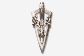 #704F - Vertical Broadhead & Buck Skull Antiqued Pewter Pin