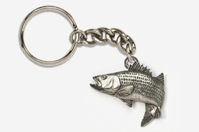 #K207A - Jumping Striper / Striped Bass Antiqued Pewter Keychain