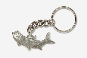 #K209A - Left Facing Tarpon Antiqued Pewter Keychain