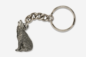 #K418 - Howling Wolf Antiqued Pewter Keychain
