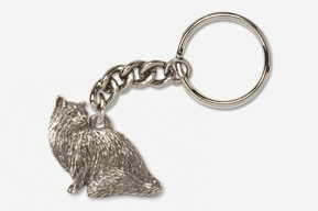 #K439C - Sitting Longhair Cat Antiqued Pewter Keychain
