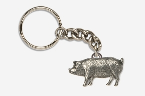 #K446 - Pig Antiqued Pewter Keychain