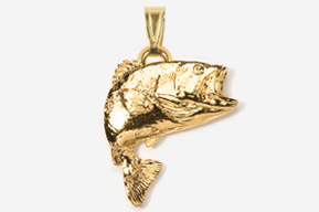 #P141G - Jumping Largemouth Bass 24K Gold Plated Pendant