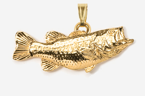"#P142G - 2"" Right facing Largemouth Bass 24K Gold Plated Pendant"