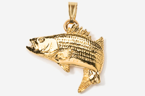 #P207AG - Jumping Striper / Striped Bass 24K Gold Plated Pendant