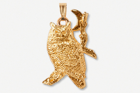 #P360AG - Great Horned Owl & Moon 24K Gold Plated Pendant