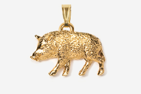 #P425G - Wild Boar 24K Gold Plated Pendant