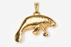 #P476G - Manatee 24K Gold Plated Pendant