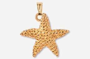 #P539BG - Medium Starfish 24K Gold Plated Pendant