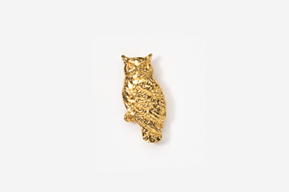 #TT360G - Great Horned Owl 24K Plated Tie Tac