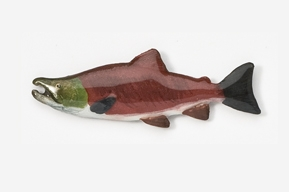 #107P - Sockeye / Red Salmon Hand Painted Pin