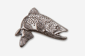 #126A - Jumping Brown Trout Antiqued Pewter Pin