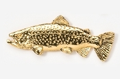 "#104G - 2 1/8"" Brown Trout 24K Gold Plated Pin"