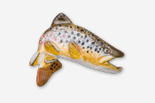 #126AP - Jumping Brown Trout Hand Painted Pin