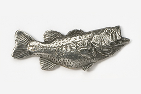 "#142 - 2"" Right Facing Largemouth Bass Antiqued Pewter Pin"