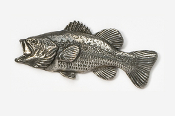 #140 - Left Facing Largemouth Bass Antiqued Pewter Pin