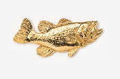 "#120G - 1 3/4"" Right Facing Largemouth Bass 24K Gold Plated Pin"