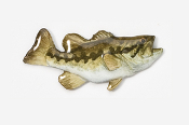 "#120P - 1 3/4"" Right Facing Largemouth Bass Hand Painted Pin"