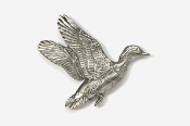 #322 - Flying Wood Duck Antiqued Pewter Pin