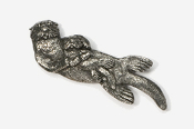 #474 - Sea Otter & Baby Antiqued Pewter Pin