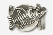 #680A - Bony Fish Platter Antiqued Pewter Pin