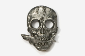 #802 - Skull with Shark Antiqued Pewter Pin