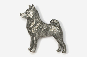 #870B - Norwegian Elkhound Antiqued Pewter Pin