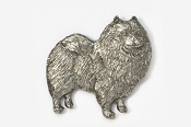 #883 - Keeshond Antiqued Pewter Pin