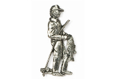 #911 - Bass Fisherman Antiqued Pewter Pin