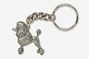 #K461A - Show Clip Poodle Antiqued Pewter Keychain