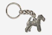 #K859A - Wire Fox Terrier Antiqued Pewter Keychain