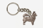 #K860A - Long Hair Chihuahua Antiqued Pewter Keychain