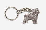 #K880A - Powder Puff Chinese Crested Antiqued Pewter Keychain