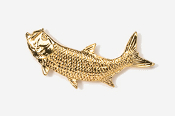 #209AG - Left Facing Tarpon 24K Gold Plated Pin