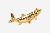 #209G - Right Facing Tarpon 24K Gold Plated Pin
