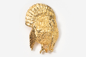 #326BG - 3/4 Front View Strutting Turkey 24K Gold Plated Pin